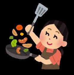 フライパンで料理をするママ