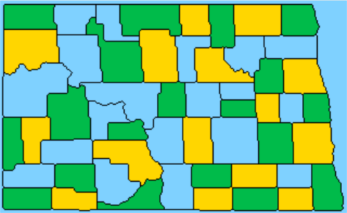緑と黄で塗られた地図