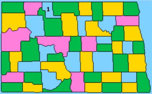 緑・黄・ピンクで塗られた地図