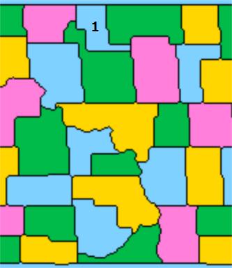 1番の周りが3色になった地図