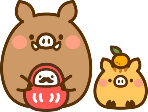 ちび猪の親子