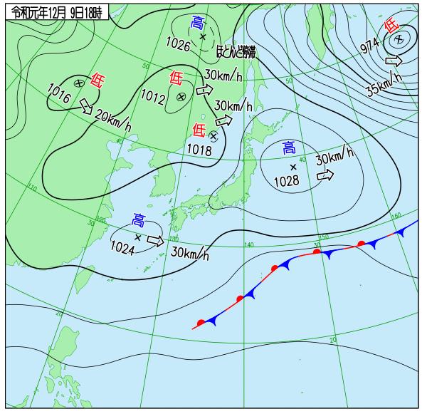 2019年12月9日18時の実況天気図