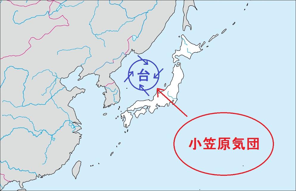 台風が小笠原気団の空気を取り込む